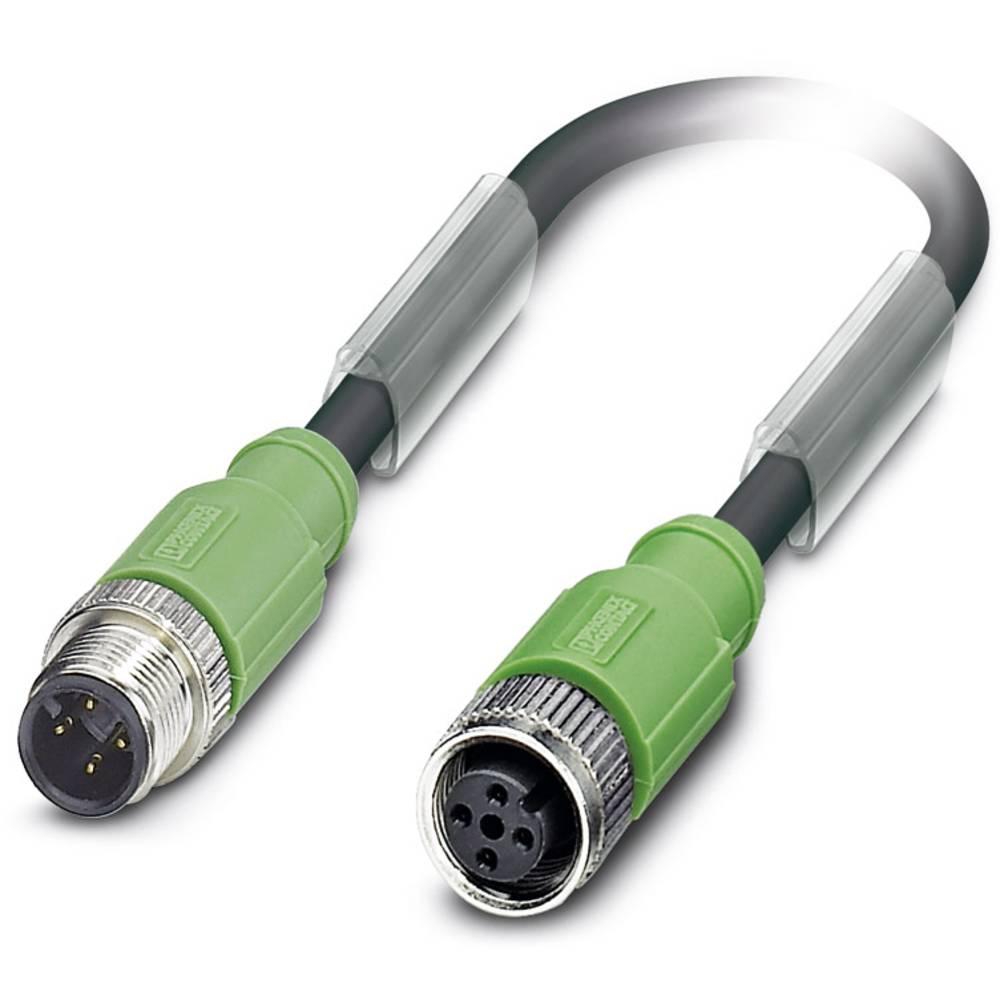 Sensor-, aktuator-stik, M12 Stik, lige, Tilslutning, lige 0.60 m Pol-tal (RJ): 4 Phoenix Contact 1500855 SAC-4P-M12MS/ 0,6-PUR/M