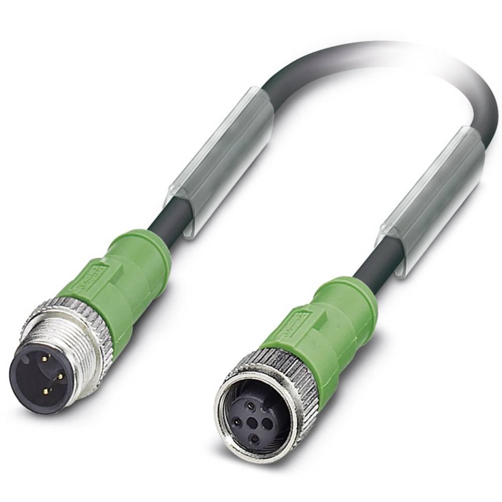 Sensor-, aktuator-stik, M12 Stik, lige, Tilslutning, lige 0.60 m Pol-tal (RJ): 3 Phoenix Contact 1538487 SAC-3P-M12MS/ 0,6-170/M