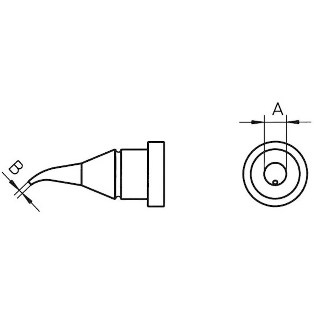 Spajkalna konica okrogle oblike, upognjena Weller LT-1X velikost konice 0.4 mm vsebuje 1 kos