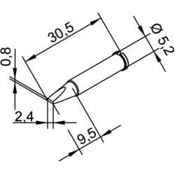 Ersa 102 CD LF 24 lemni vrh dljetast oblik, ravan Veličina vrha 2.4 mm Content 1 St.