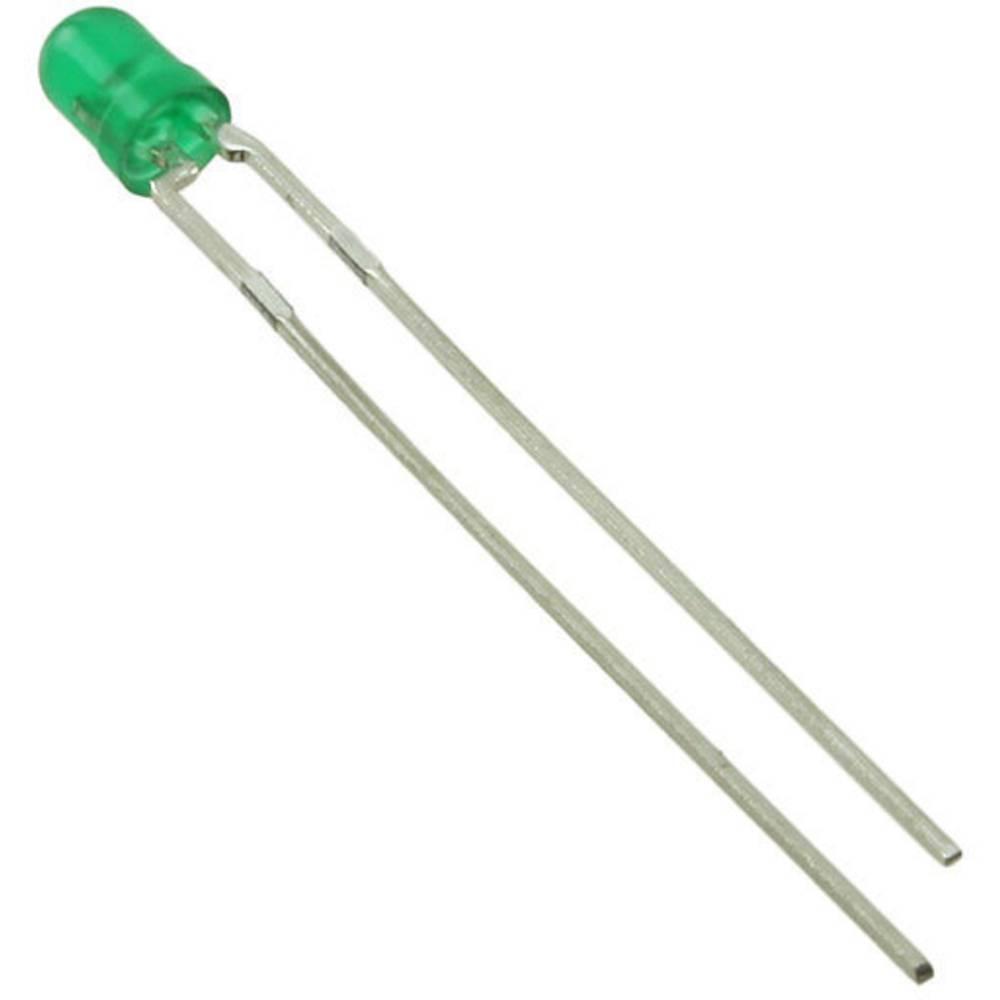 LED med ledninger Everlight Opto 3 mm 5 mcd 90 ° 30 mA 2.2 V Grøn