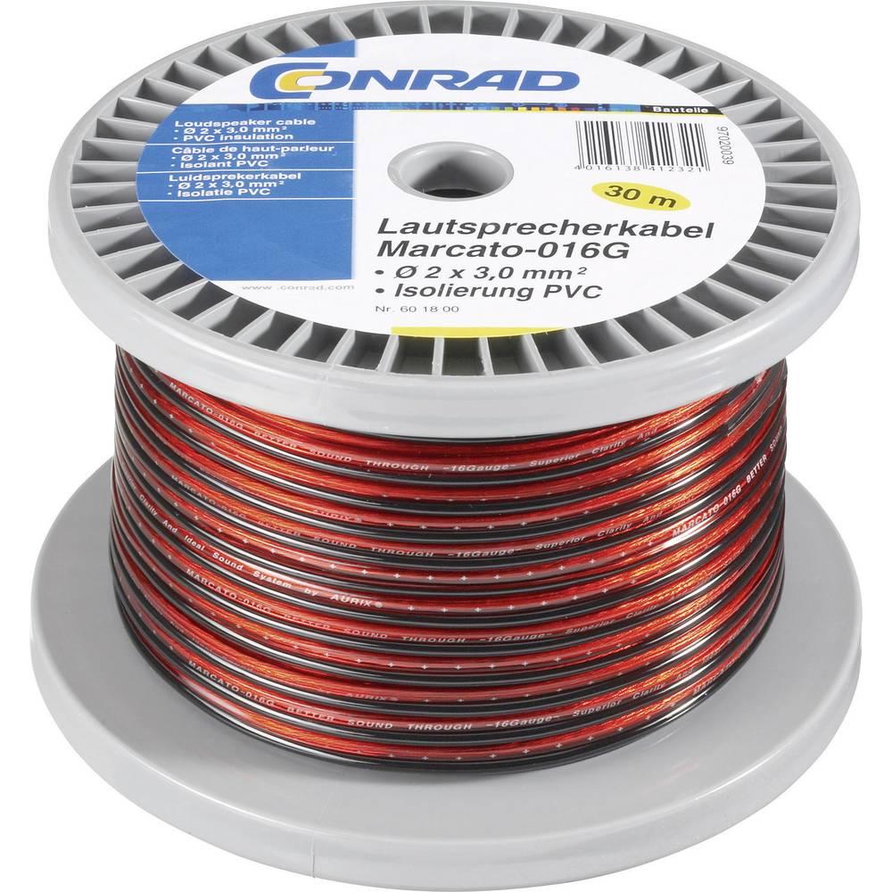 Kabel za zvučnike 93003c17 Conrad 2 x 1.35 mm, crvena, crna, 100 m