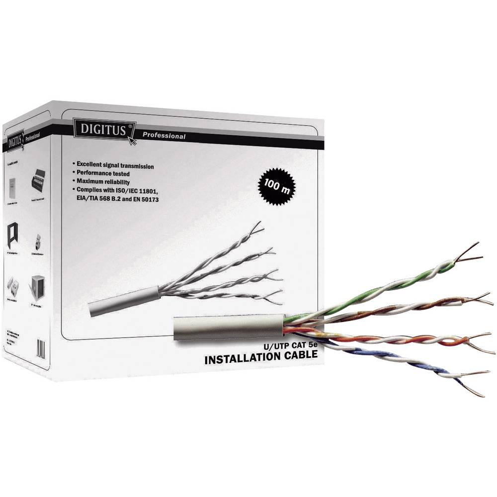 Omrežni kabel CAT 6 - UTP, zapakiran 4 x 2 x 0.25 mm2, siva,100 m, Digitus DK-1611-V-1