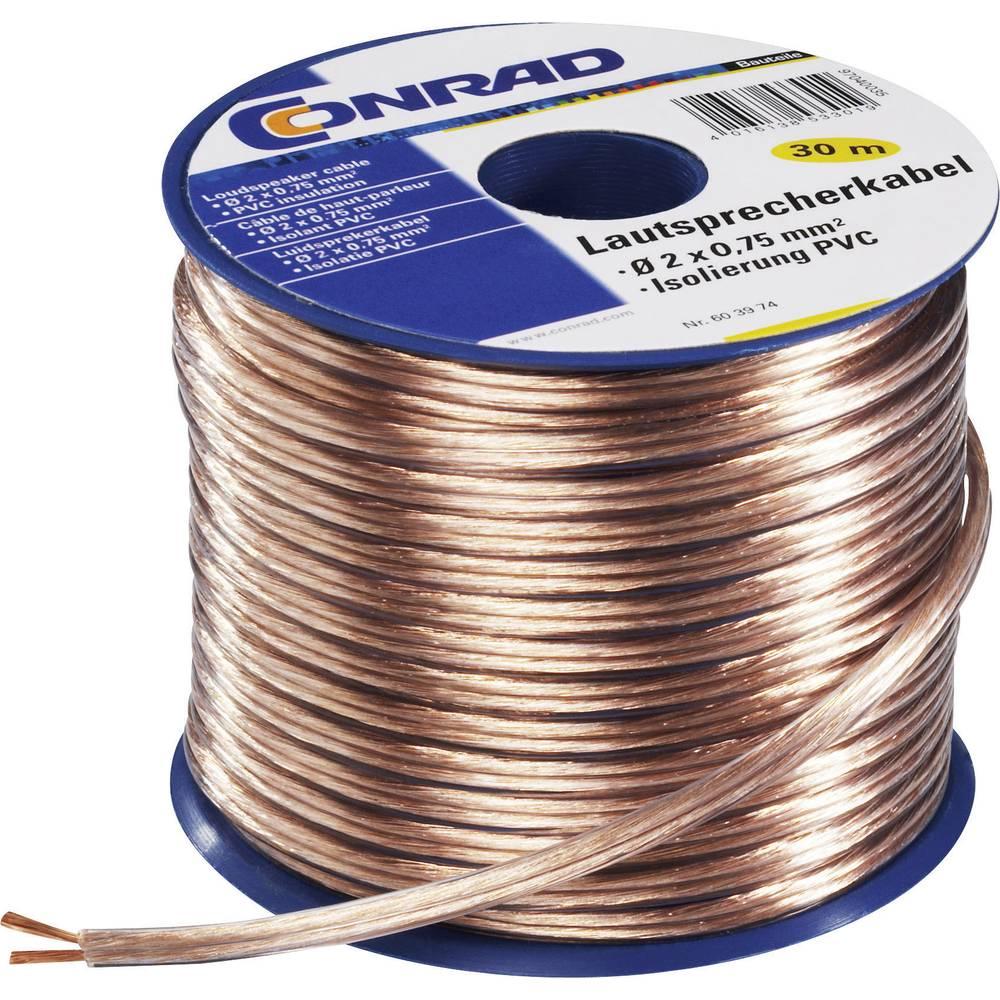 Kabel za zvučnike SH1998C182 Conrad 2 x 2.5 mm, prozirna, 20 m