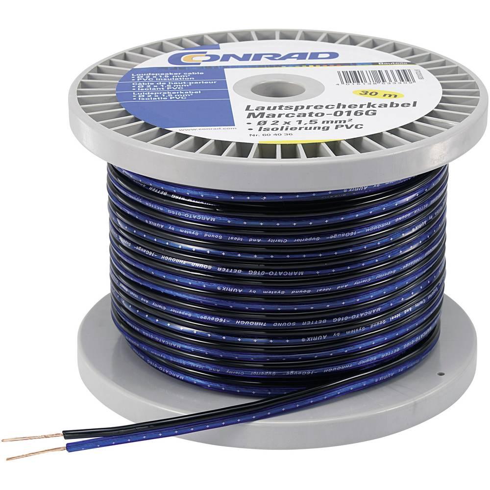 Kabel za zvučnike 93003c16 Conrad 2 x 1.35 mm, plava, crna, 100 m