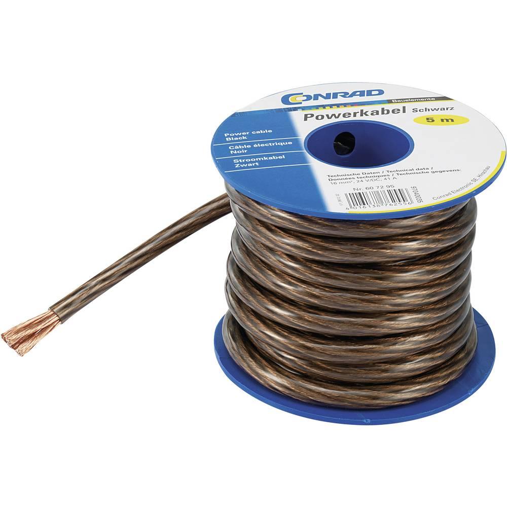 Ozemljitveni kabel (Power cable) 1 x 6 mm črne barve, transparentne barve Conrad Components SH1997C167 5 m