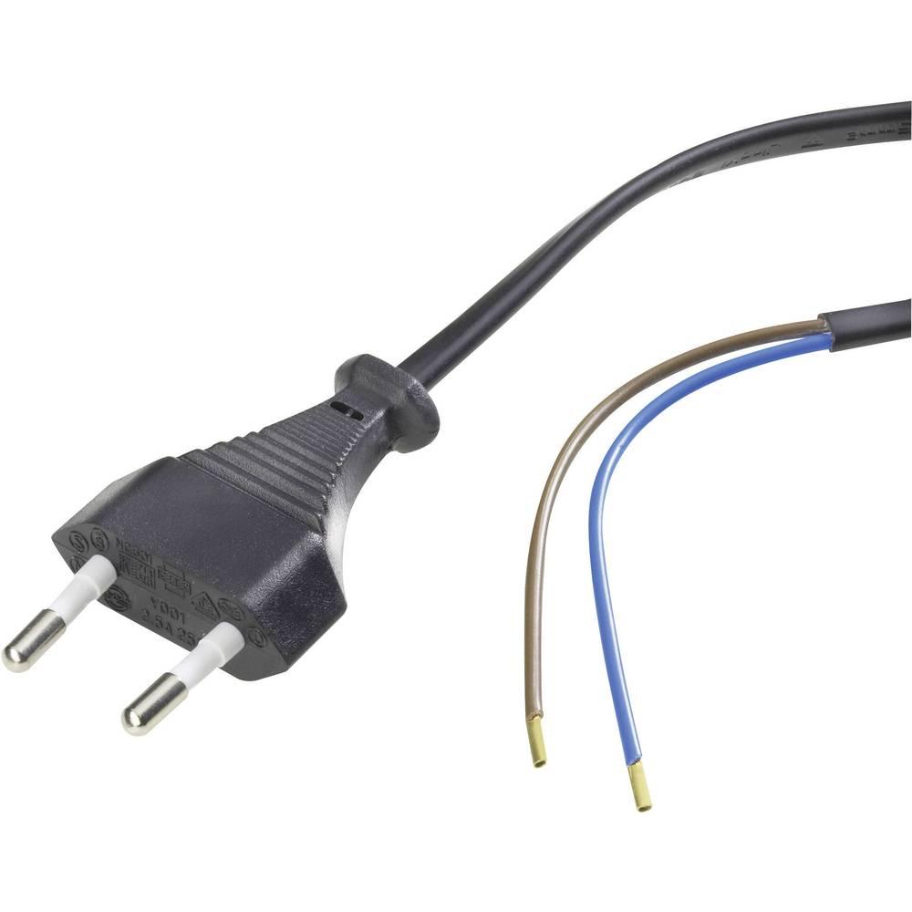 Priključni kabel [ evro vtič - kabel, odprti konec] črni 1.5 m 6778