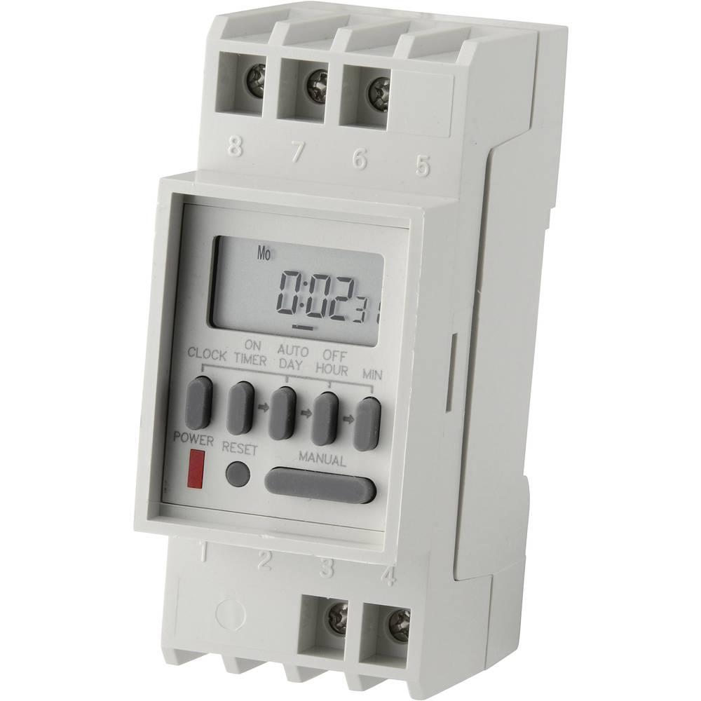 Uklopni sat za montažu na profilne šine, digitalni, CE TM-848-2 230 V/AC 16 A/250 V