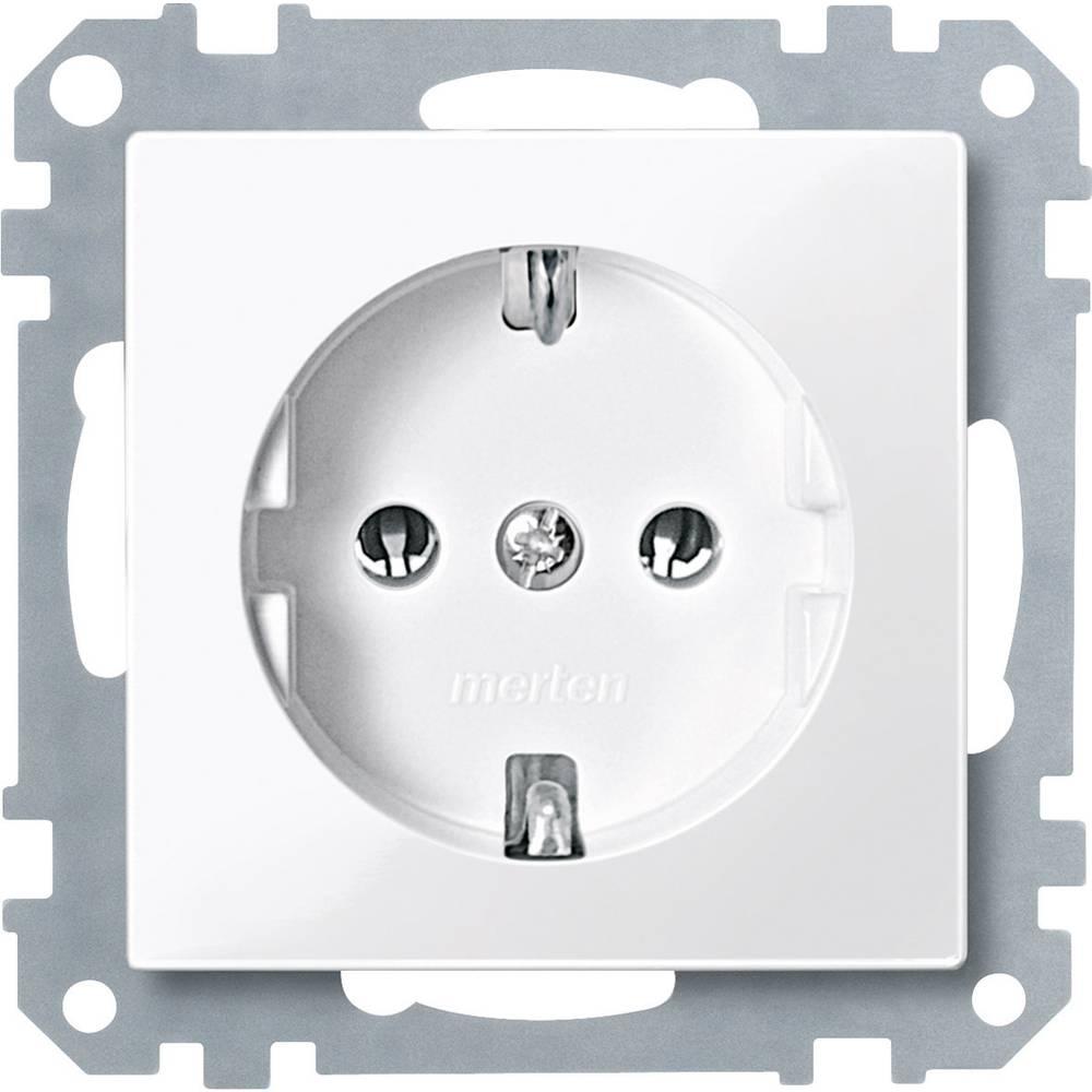 Merten vložek, varnostna vtičnica sistem M, 1-M, M-Creativ polarno bele svetleče barve MEG2301-0319