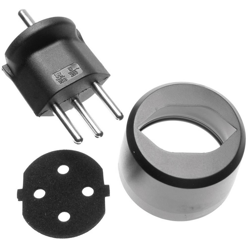 Adapterski električni vtič 153/802/803, varnostni vtič na švicarski vtič tipa 12, črn