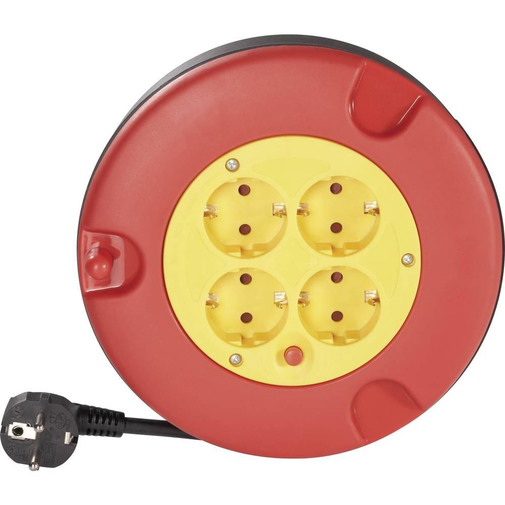 kabelski boben Ročni kabelskiboben, 4 vtičnice, 5 m kabelRdeča, Rumena varnostni vtič Conrad