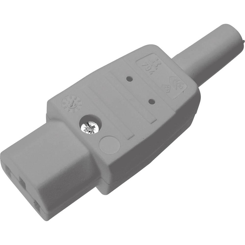 IEC-stik C13 Serie (netstik) 794 Tilslutning, lige Samlet poltal: 2 + PE 10 A Grå Kaiser 794/gr 1 stk