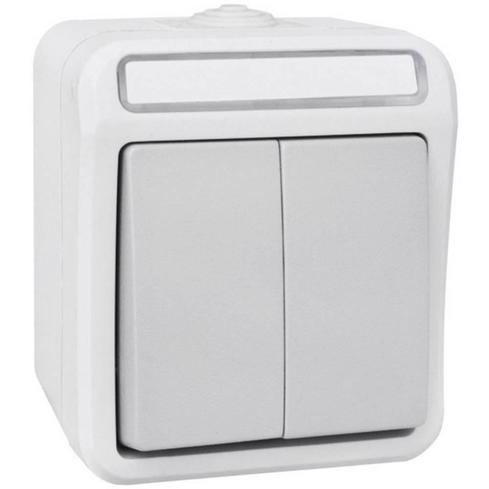 Peranova serijski prekidač za vlažne prostorije Pera svijetlo i tamno sivi 102445