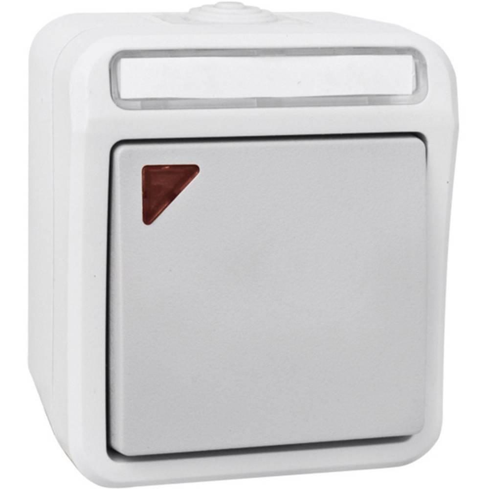 Izmjenični kontrolni prekidač za vlažne prostorije Peranova, svijetlo i tamno sive boje, I 102450