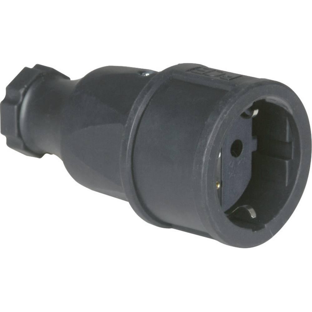 Schuko forlængerled Massivt gummi 230 V Sort IP20 PCE 2520-s