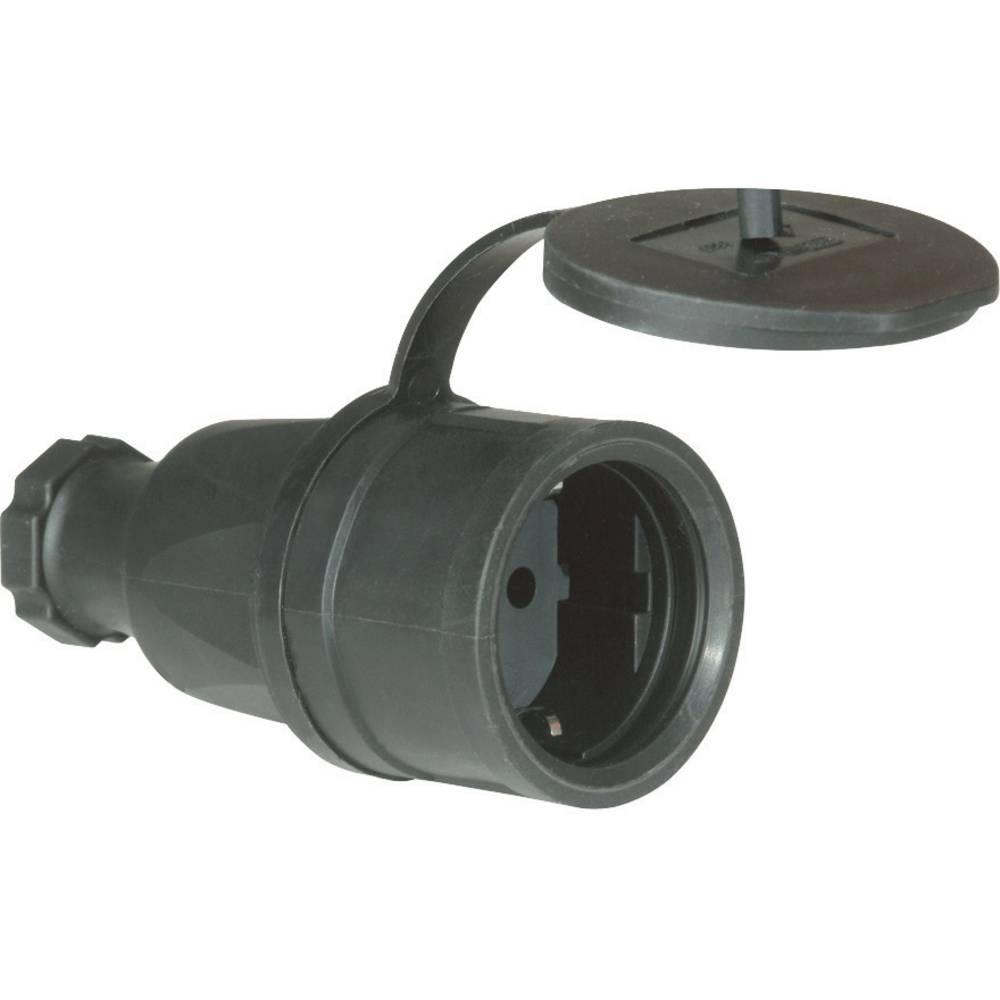 Varnostna električna vtičnicaPCE 2521-s, polna guma, s pokrovom, črna, IP44