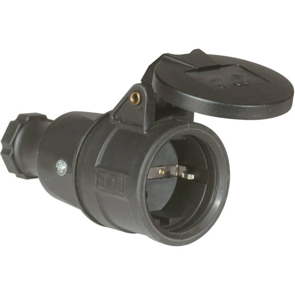 Varnostna električna vtičnicaPCE 2522-s, polna guma, s poklopnim pokrovom, črna, IP44