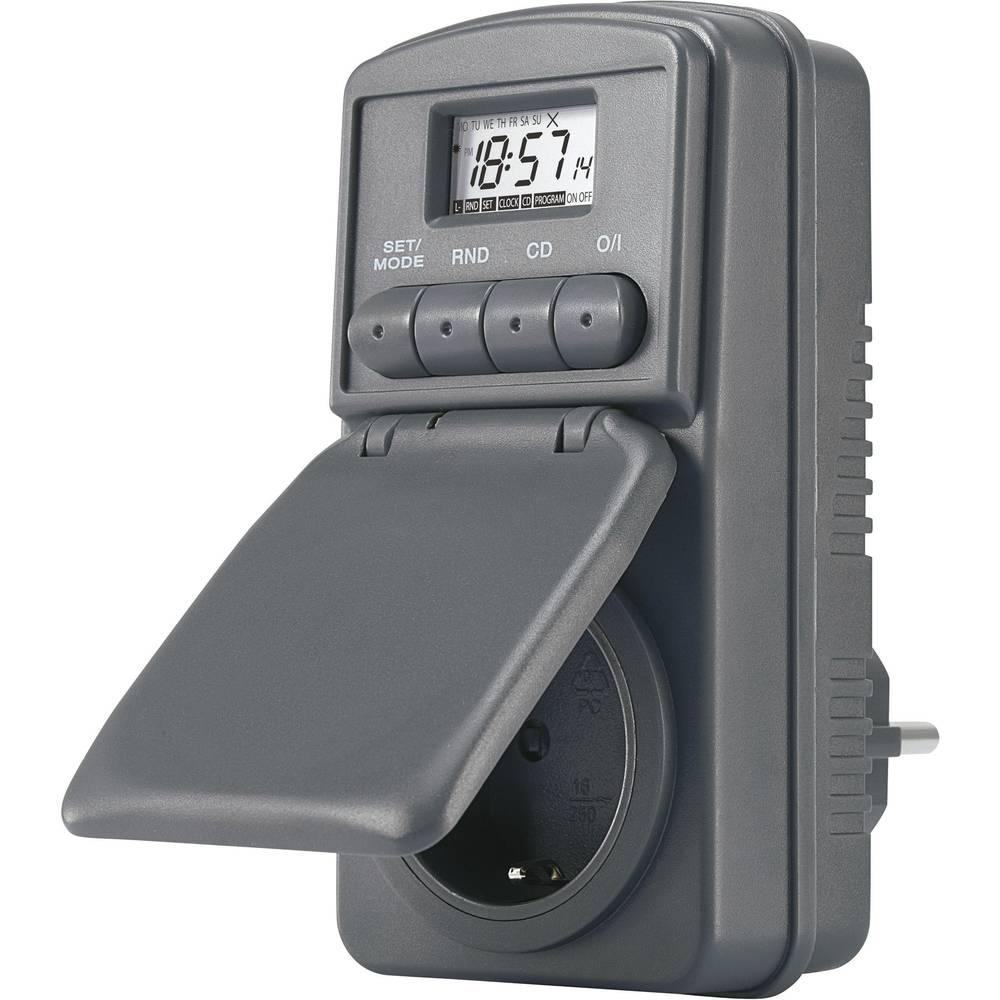 Digitalna časovna stikalna ura za vtičnico, tedenski program 23 h/59 min CE DWZ 20 3680 W IP44 funkcija odštevanja