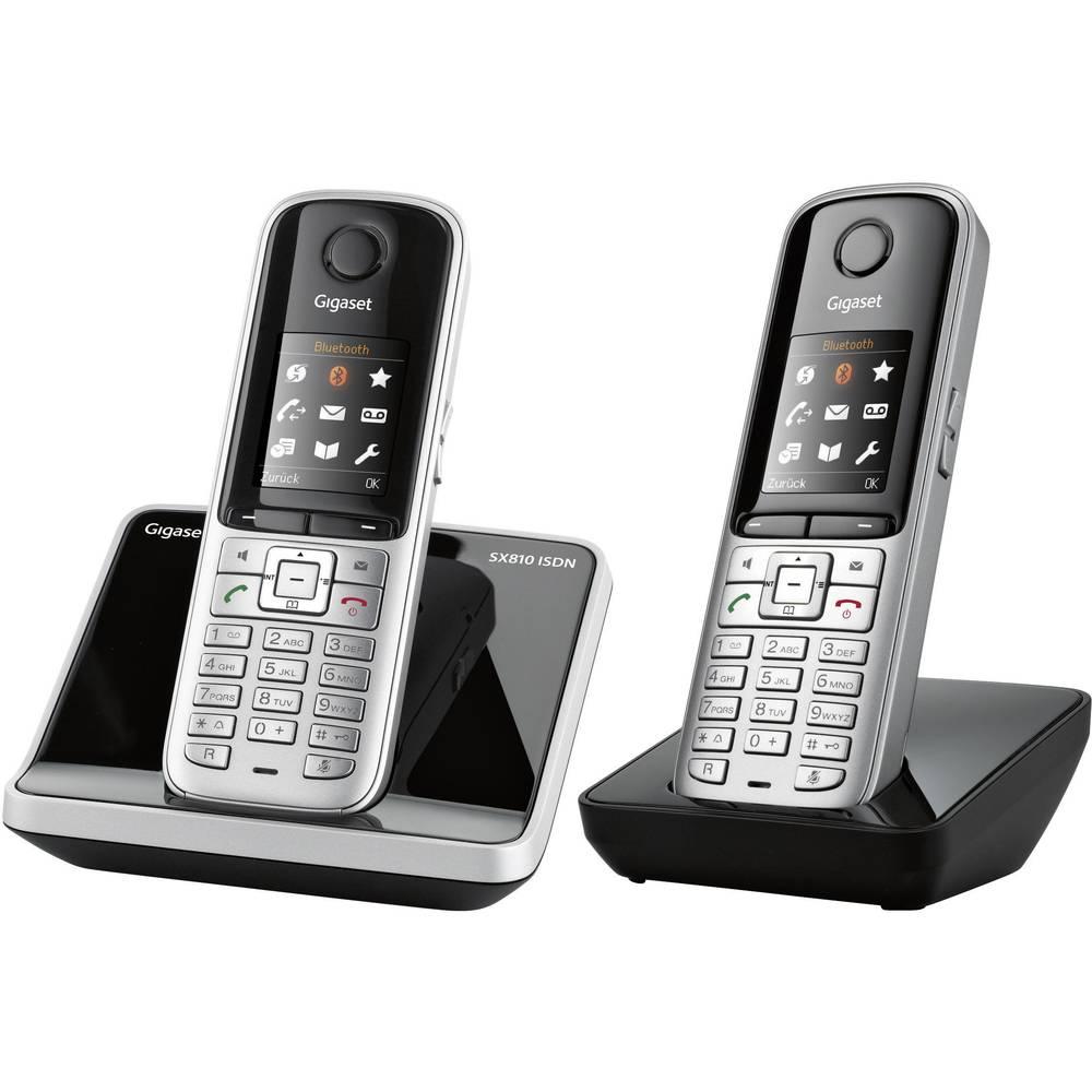 Brezžični ISDN telefon Gigaset SX810 ISDN Duo, priključek za slušalke, Bluetooth®, barvni zaslon, črn, srebrn