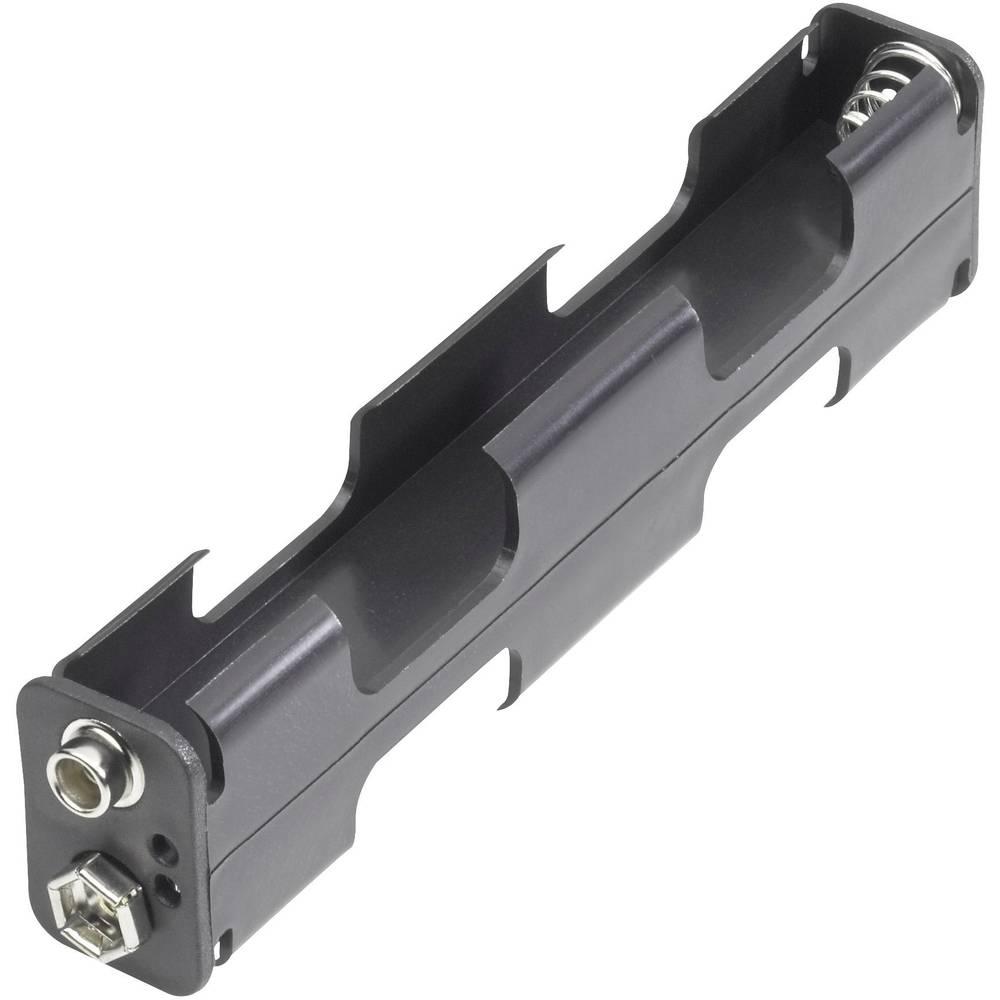 Batterihållare 4xR6 (AA);Tryckknappsanslutning;(LxBxH) 110 x 26 x 16 mm;Goobay;10881