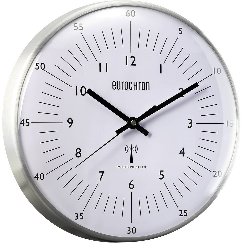 Radijski kontrolirani zidni sat Eurochron 31.5 cm x 6.6 cm aluminijum