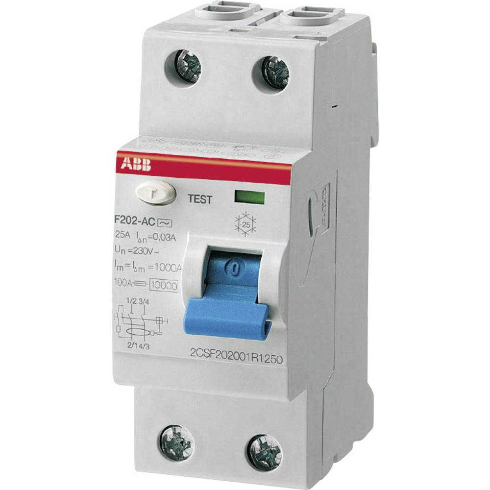 FID Zaštitni prekidač 2-polni 25 A 230 V ABB 2CSF202101R1250