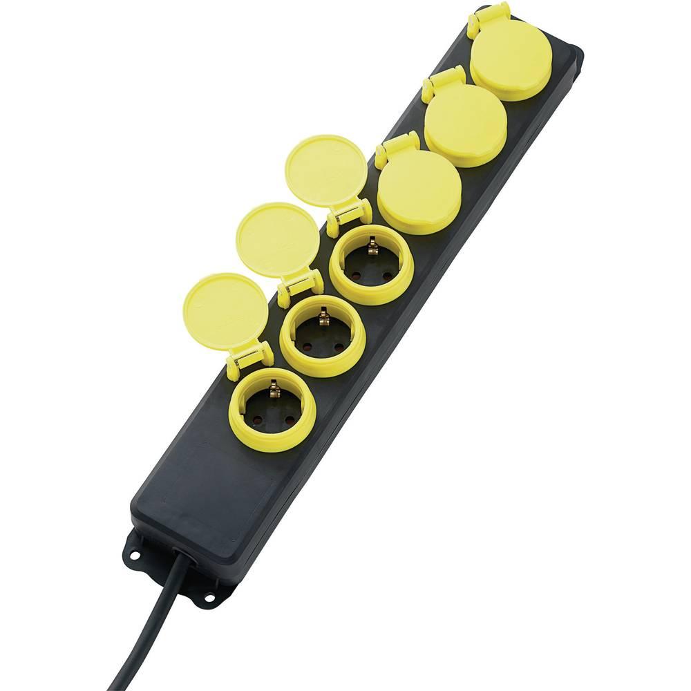 Letva s utičnicama bez prekidača 6-struka, crna, žuta, zaštitni kontakt, CE