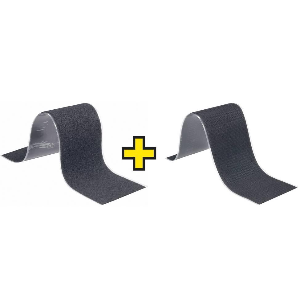 Sprijemalni trak za lepljenjeFastech, sprijemalni in mehakdel, 500 cm x 5 cm, črn, 1 par