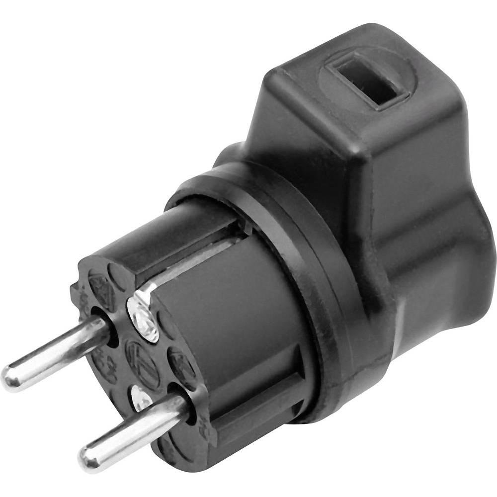 Schutzkontakt-Winkelstecker (value.1291862) Gummi Til lyskæder-fladkabel 230 V Sort GAO 627658