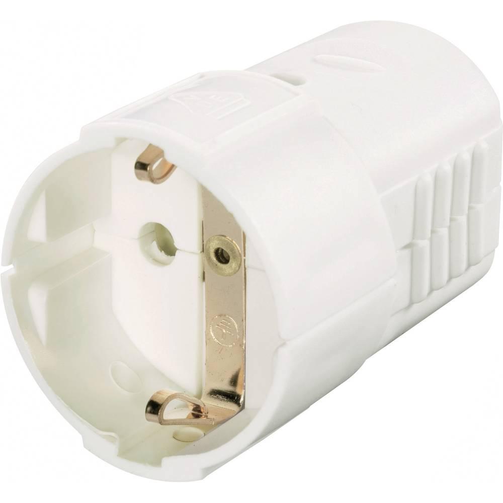 Schuko forlængerled Plast 230 V Hvid IP20 627747