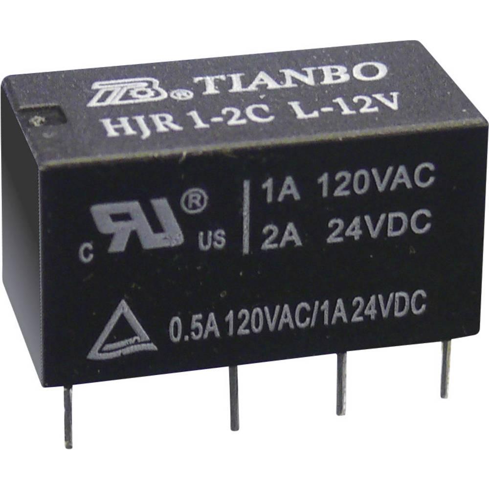 Printrelais (value.1292897) 12 V/DC 2 A 2 Wechsler (value.1345274) Tianbo Electronics HJR1-2C-L-12VDC 1 stk
