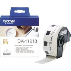 Brother Trak za nalepke DK-11218, DK11218, 1000 okroglih nalepk (24mm), bela, za QL tiskalnike