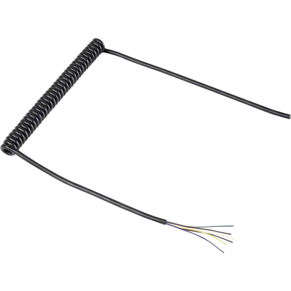 Spiralni kabel 204 mm / 600 mm 6 x 0.12 mm črne barve 630974 1 kos