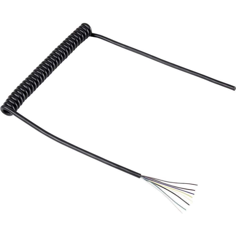 Spiralni kabel 218 mm / 640 mm 8 x 0.12 mm črne barve 630975 1 kos