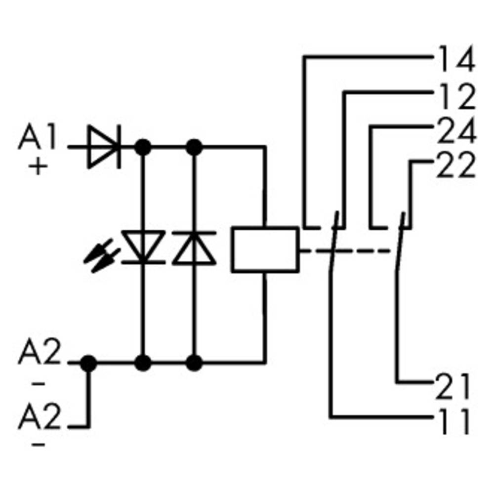 Industrirelæ 1 stk WAGO 789-313 Nominel spænding: 48 V/DC Brydestrøm (max.): 8 A 2 x omskifter