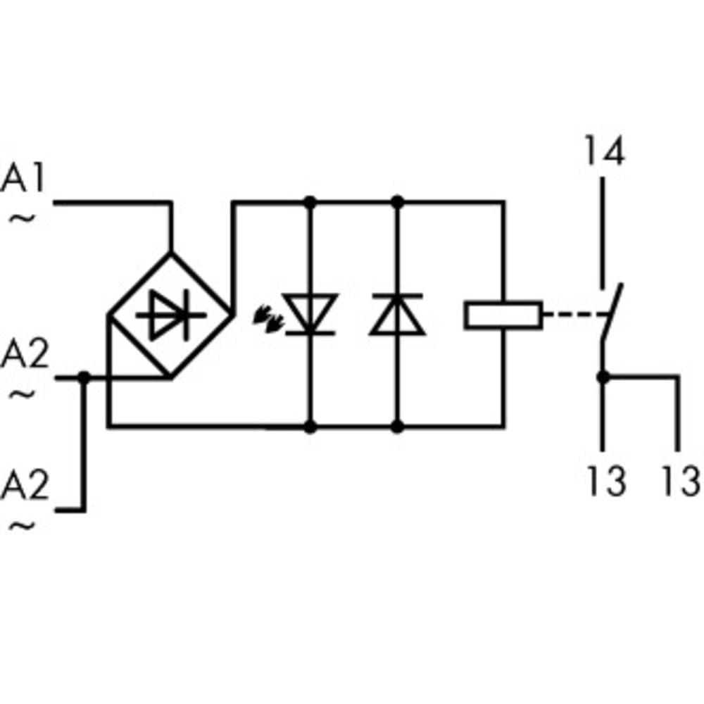 Industrijski rele 1 kos WAGO 789-520 nazivna napetost: 24 V/AC preklopni tok (maks.): 16 A 1 x zapiralni