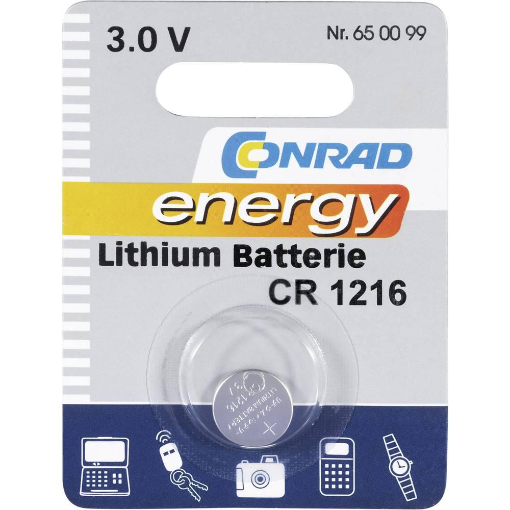 Gumbasta baterija CR 1216 Conrad energy litijska CR1216 25 mAh 3 V 1 kom.