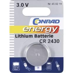 Gumbna baterija CR 2430 litijeva Conrad energy CR2430 270 mAh 3 V, 1 kos