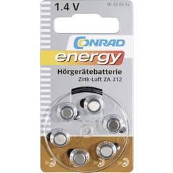 Knappcell ZA 312 Zink-luft Conrad energy 160 mAh 1.4 V 6 st
