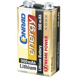 Batteri 9 V Litium Conrad energy Extreme Power 6LR61 900 mAh 9 V 1 st