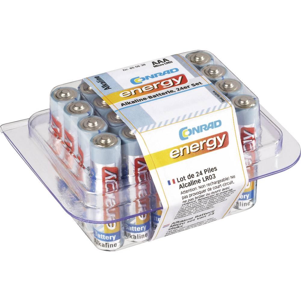 Mikro (AAA) baterija, alkalno-manganska Conrad energy LR03 1.5 V 24 kom.
