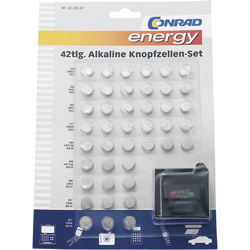 Conrad energy Knappcells-set 6x AG1, 12x AG3, 6x AG4, 9x AG10, 3x AG12, 6x AG13 · Batteriprovare