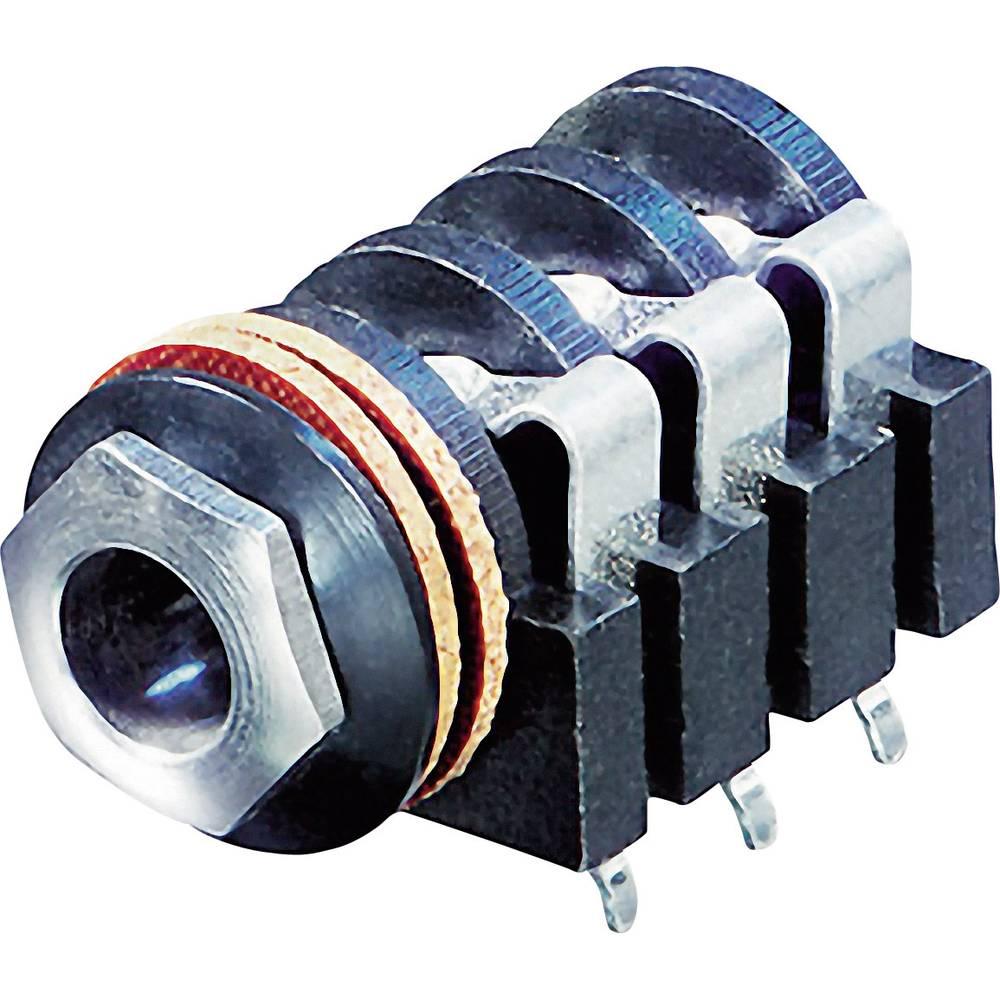 Klinken-vtični konektor, 6.35 mm vtičnica, vgraden horizontalen število polov: 3 Stereo črne barve Rean AV NYS215 1 kos