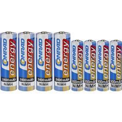 Conrad energy Komplet 4 Micro akum. baterija 900 mAh, 4 Mignon akum. baterija 2400 mAh