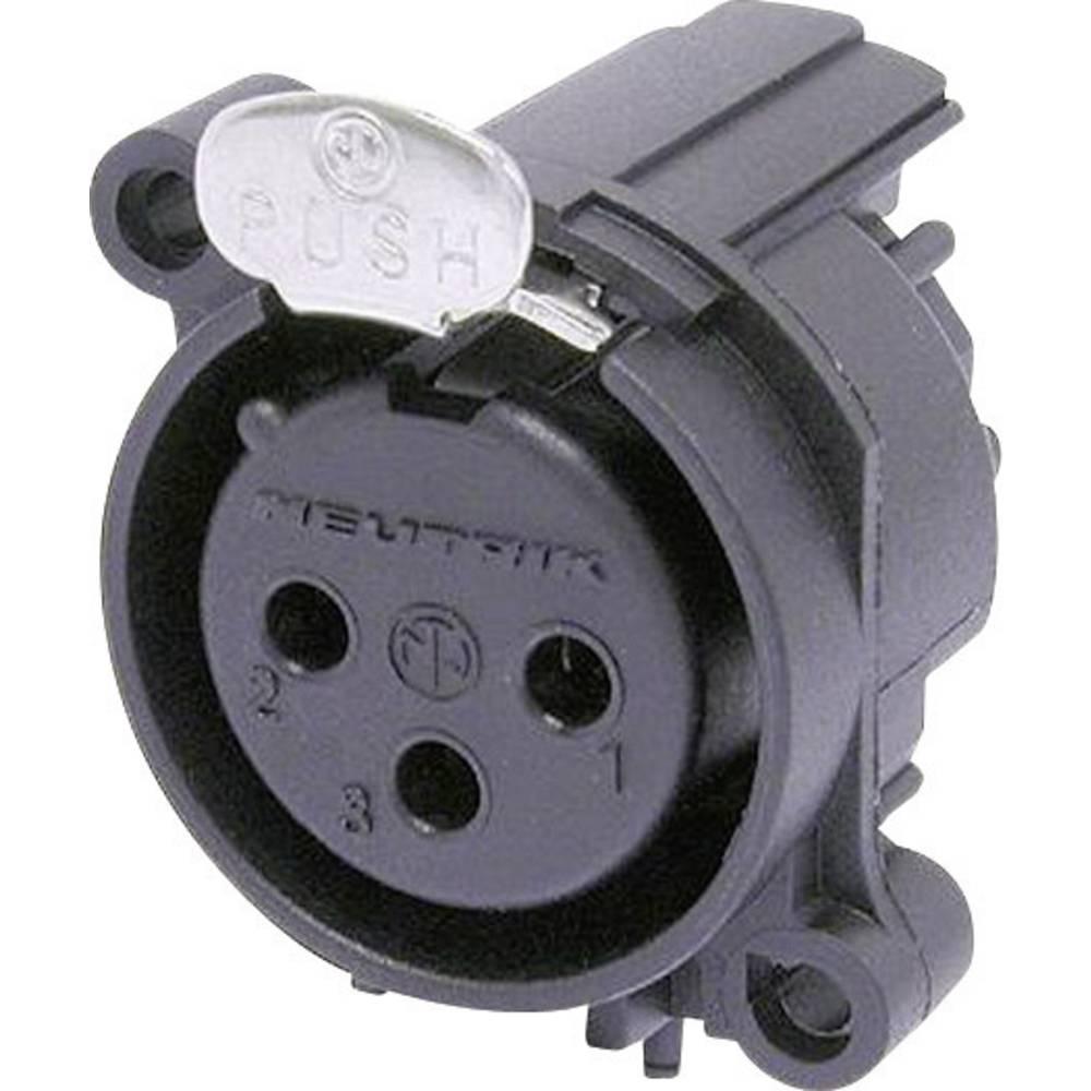 XLR-vtični konektor za prirobno vtičnico, kotni kontaktii število polov: 3 črne barve Neutrik NC3FAAH1 1 kos