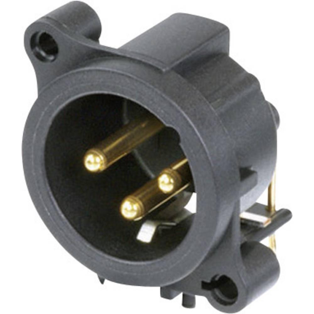 XLR-vtični konektor, prirobni vtič, kotni kontaktii število polov: 3 črne barve Neutrik NC3MAAH 1 kos