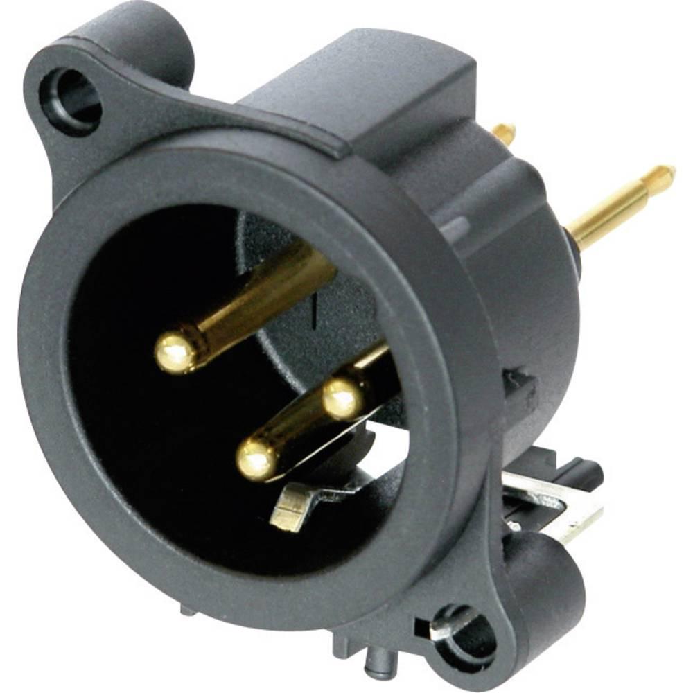 XLR-vtični konektor, prirobni vtič, ravni kontakti, število polov: 3 črne barve Neutrik NC3MAAV 1 kos