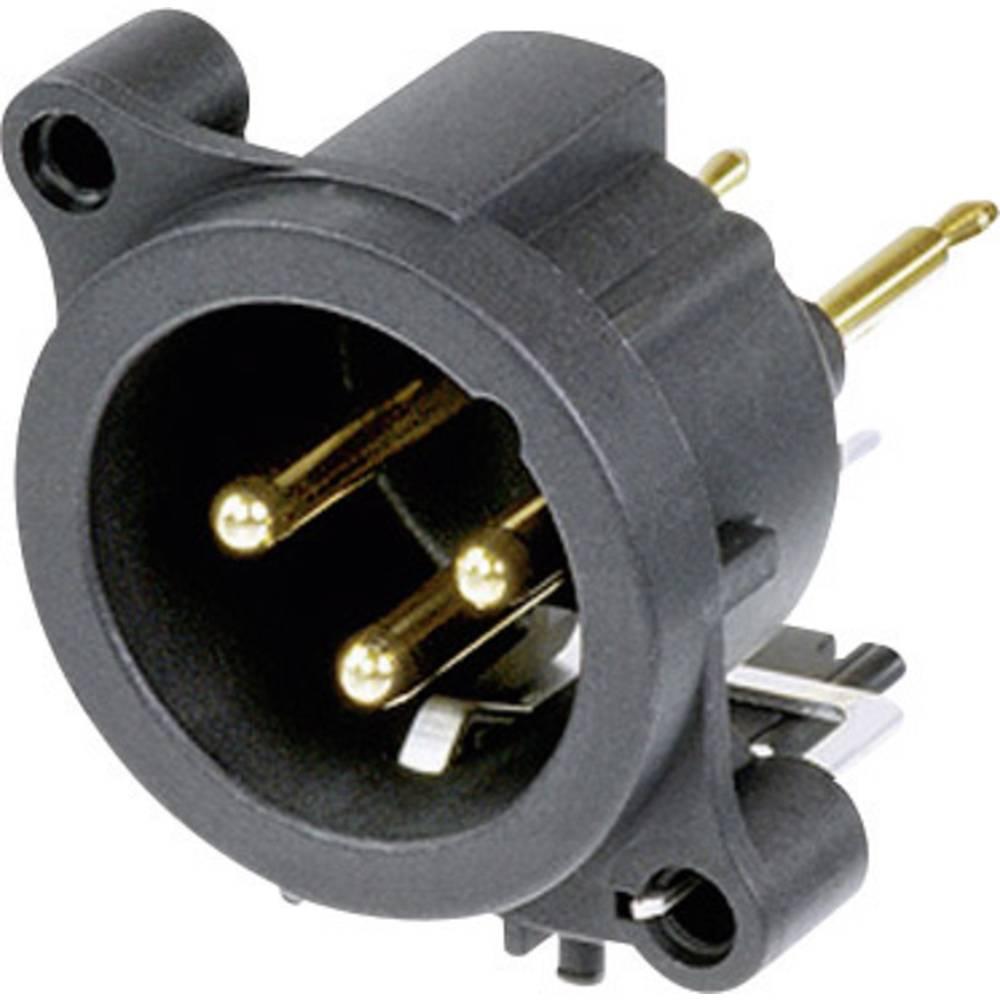 XLR-vtični konektor, prirobni vtič, ravni kontakti, število polov: 3 črne barve Neutrik NC3MAV 1 kos
