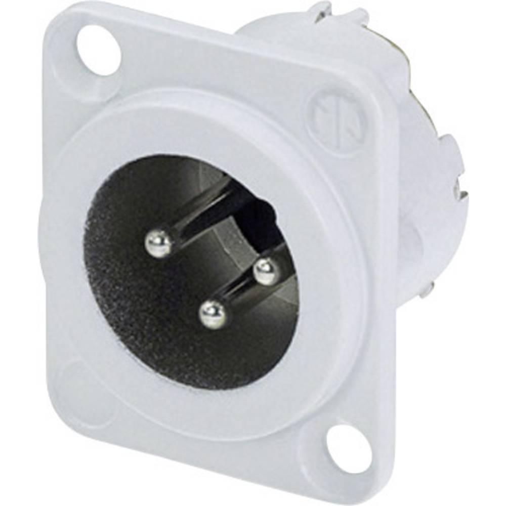 XLR-vtični konektor, prirobni vtič, ravni kontakti, število polov: 3 bele barve Neutrik NC3MD-LX-WT 1 kos