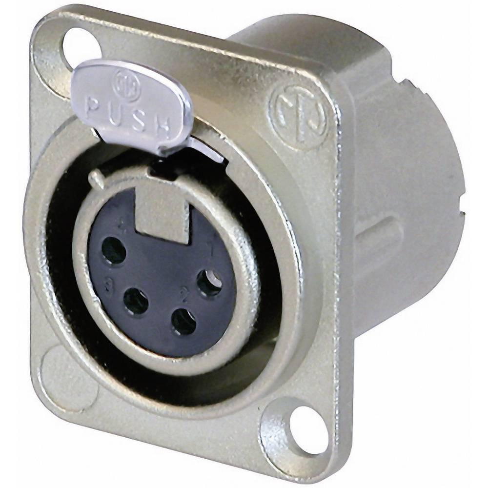 XLR-vtični konektor za prirobno vtičnico, ravni kontakti, število polov: 4 srebrne barve Neutrik NC4FD-LX 1 kos